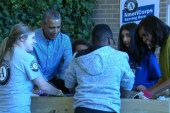 Obamas participate in MLK, Jr. Day of Service