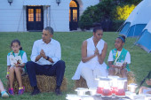 The Obamas attend Girl Scout campout