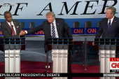 Carson and Trump share handshake on stage