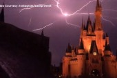 Lightning strikes above Cinderella's Castle