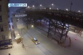 Drone video shows snow buildup in Harlem, NY