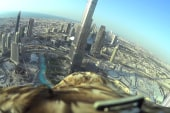 Eagle with camera soars off Dubai tower