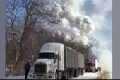 Fireworks truck explodes after pile-up