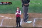 Kid sings Australian nat'l anthem with...