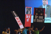 Jeb Bush greeted by protesters