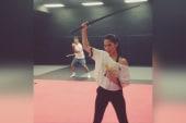 Olivia Munn has serious sword skills