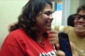 Astrid Silva reacts after Obama's speech