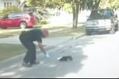 Police officer saves skunk from yogurt cup