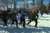Giant snowball fight breaks out in...