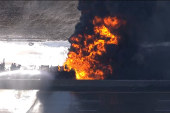 Massive tanker fire shuts down highway