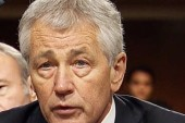 Hagel grilled by former colleague