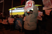 Fast food workers walk off the job