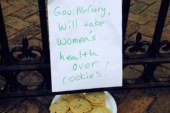 NC Gov hands protesters plate of cookies