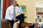 Right outraged at Obama's foot on desk photo