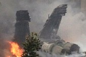 One F-18 pilot was entangled on burning...