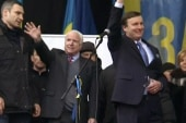 McCain and Murphy rally protesters in Ukraine