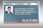 Romney has a chuckle over father's story...