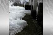 Ice sheet creeps ashore in Minnesota