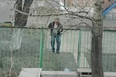 Guy just can't seem to climb this fence
