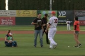 Hero cat throws out first pitch at game