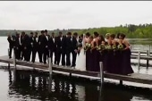 Dock collapses during wedding party pic