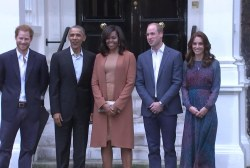 Obamas greet the Royals at Kensington Palace