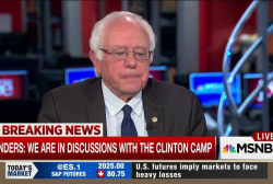 Sanders smiles, laughs watching impressionist