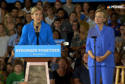 Warren stumps for Clinton: 'I'm with her'