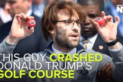 Comedian interrupts Trump with swastika balls