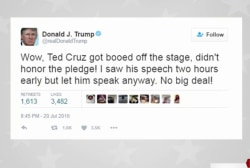 Trump responds to Cruz boos