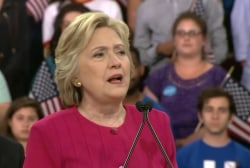 Clinton emphasizes Founding Fathers' goals