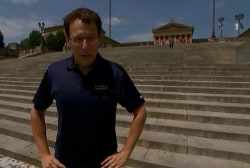 Steve Kornacki runs up the 'Rocky' steps ...