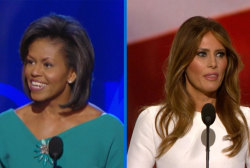 Michelle and Melania: side by side...