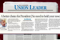 NH newspaper opts for Johnson over Trump