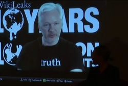 Assange speaks at Wikileaks conference