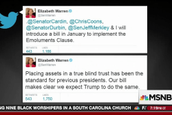 Warren goes after Trump for conflicts of...