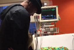 Cam Newton makes special visit to young fan