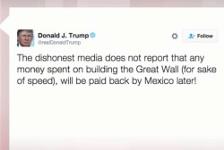 Trump lashes out at media in 'Great Wall'...