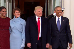 The Obamas welcome the Trumps to the WH