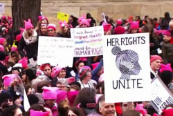 Hundreds of Women's Marches took place...