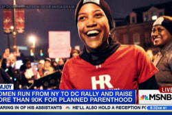 Women run to march for Planned Parenthood