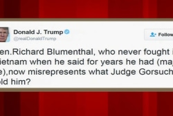 Trump slams Sen. Blumenthal in Gorsuch tweet