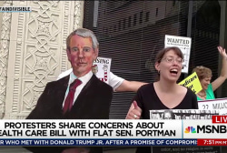 Health care protest uses 'flat Rob Portman'