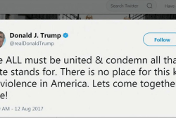Trump Tweets Response To Virginia Riots