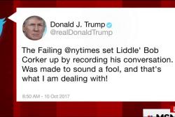 Trump tweet takes aim at 'Liddle' Bob Corker'
