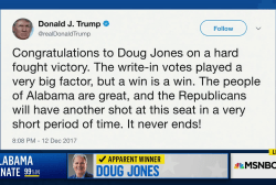 Trump tweets 'congratulations' to Doug Jones