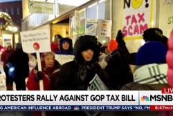 GOP tax bill opponents protest to the end