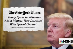 NYT: Trump spoke to witnesses about their Mueller interviews
