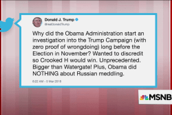 In tweets, Trump questions Russia investigation