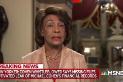 Maxine Waters on the missing Michael Cohen data